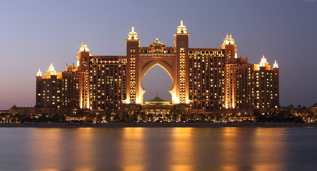 A view of a large body of water with Atlantis, The Palm in the background